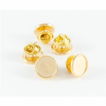 Premium Badge Blank round 12.4mm gold clutch and clear dome